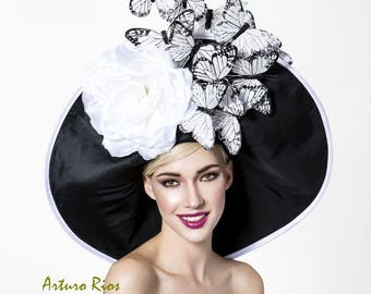 Black and white Monarch butterflies derby hat, Kentucku derby hat, Couture derby hat