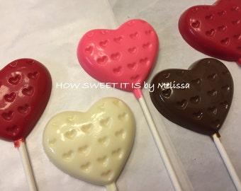 Chocolate Heart Lollipops (1 dozen) - Valentines Day, Birthday, Wedding
