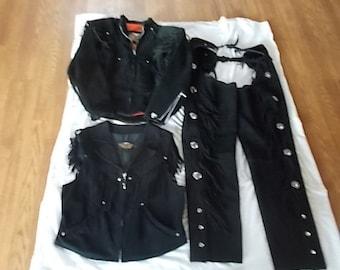 Womans~Genuine~Harley Davidson~Jacket~Vest~Chaps~Set~Suede Leather~Fringe~Motorcycle~Western~Vest + Jacket sz.~L~Chaps~sz.~XL~USA