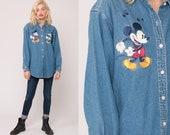 Mickey and Minnie Shirt Disney Shirt Denim Shirt Mickey Mouse Button Up Vintage 90s Jean Shirt Blue Extra Large xl