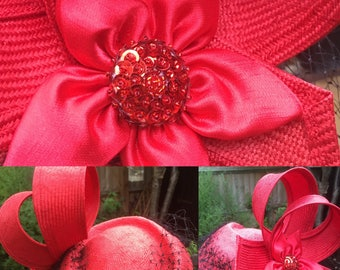 Red and Black Handmade Parisisal Percher Fascinator Hat with Veiling
