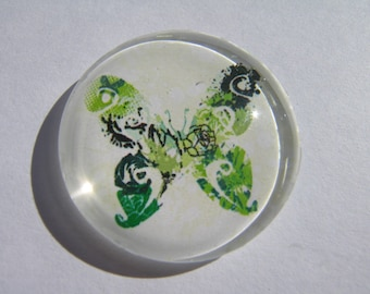 Nice glass cabochon round 30 mm with Green Butterfly image