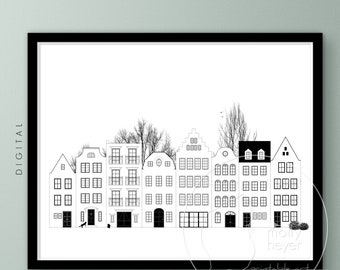 Printable City Houses, Black & White Line Art Colouring Page, Old Townhouses, Scandinavian Minimalist Wall Art, Large Format Office Print