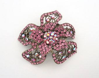 Crystal Flower Hair Accessory Barrette Clip Gold Tone Pink