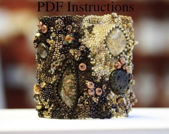 PDF Instructions for Freeform Bracelets. DIY. Tutorials. Instructions. Advanced. Intermediate. Beadwork. Freefrom. Peyote.