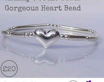 Sterling Silver Stretch Stacking Bracelet with Gorgeous Puff Heart Bead