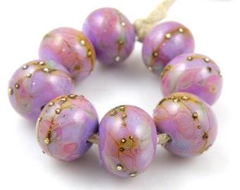 Neptune SRA Lampwork Handmade Artisan Glass Donut/Round Beads Made to Order Set of 8 8x12mm