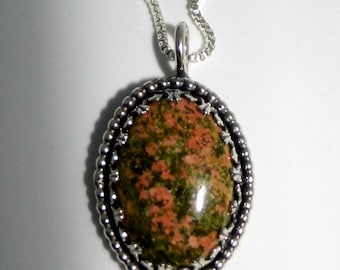 Sterling Silver and Unakite Pendant