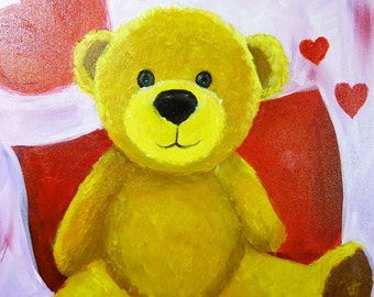 Canvas (Only) : Paint Party Ideas - Fluffy Teddy  - How to Paint Acrylic on Canvas DIY Kit