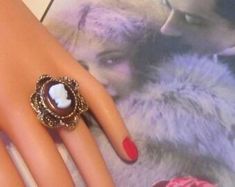 Vintage Huge Cameo Ring - Size Adjustable - R-007