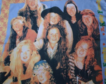 90s The Kelly Family cloth, Vintage the Kelly Family scarf, Rare The Kelly Family collectible shawl, Paddy Kelly, Angelo Kelly, Maite Kelly