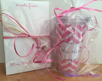 Personalized PInk chevron Teacher notepad and tumbler set Teacher notepads teacher tumblers Teacher Gifts