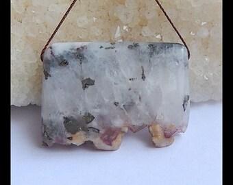 Nugget Pyrite With Quartz Focal Pendant Bead,37x27x7mm,16.7g(v0511)