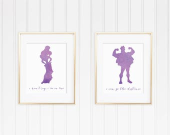 8x10 Hercules and Meg Watercolor Print Collection Set of Two