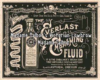 Everlast Necromort Embalming Fluid Mortician Undertaker Burial Victorian Lowbrow Poster