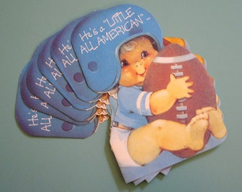Vintage Baby Boy Football Birth Announcements - Set of 8 Announcements - Baby Boy
