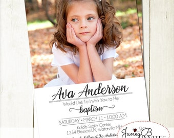 LDS Girl Baptism Invitation, Girl Baptism Invitation, LDS Baptism Invite, Baptism Invite with Picture