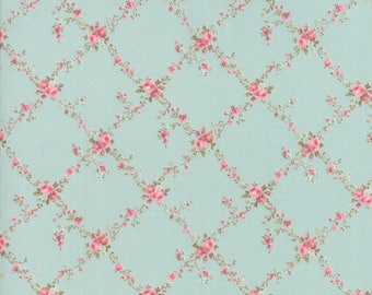 Ships Today!  Moda CAROLINE Brenda Riddle Of Little Acorn Co. 1 Yard of Caroline Bloom Floral Lattice Aqua Sky Moda Fabric Shabby Chic