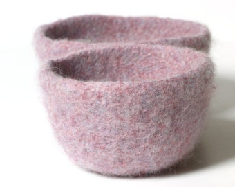 WOOLY FELTED BOWLS - two felted nesting bowls - lilac, rosewood, lavender, amethyst* 3