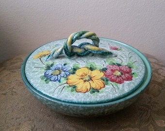 Vintage Italian Majolica pottery small serving dish with lid