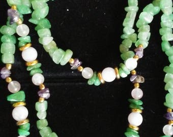 Long, single strand, multi-colored gemstone necklace
