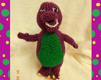 Crochet Plush Purple Dinosaur Stuffed Animal Inspired By Barney