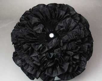 Small Black Millinery Flower Applique