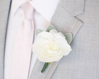 Pack of 4 - White Boutonnieres with Silk Ranunculus and Lamb's Ear