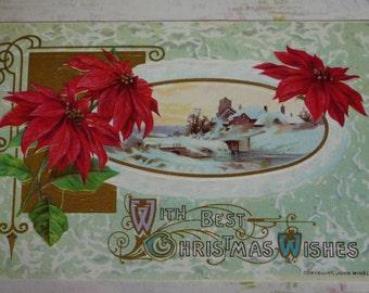 Poinsettias and Scene Antique Winsch Christmas Postcard