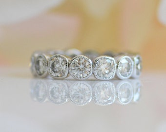 """Cushion and Round Moissanite Eternity Band - """"Cara"""" by JYB Jewels"""