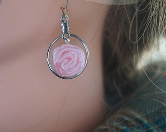 handmade pink rose earrings