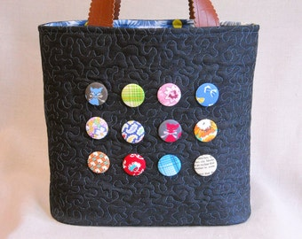 Dark Denim Button Bucket Tote - Feedsack Prints
