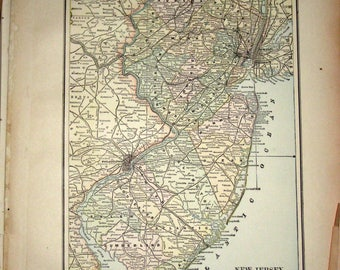 Antique  Map from 1891  New Popular Atlas of the World -  New Jersey or Baltimore