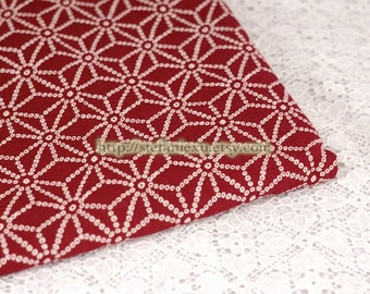 Japanese Traditional Cotton Fabric-Big Asanoha Floral, Deep Red (Fat Quarter)