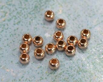 20pcs 2.5mm Rose 14Kt Gold-filled Metal Bead Round Spacer