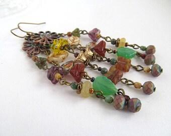 Glass Flower Dangle Earrings, Chandelier Earrings, Garden Jewelry, Autumn Earrings, Long Earrings, Bohemian Earrings, Artisan Jewelry