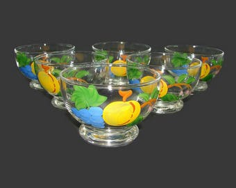 6 Hand Painted Fruit Glass Sherbets, Glass Fruit Cups, Dessert Bowls, Gay Fad or Bartlett Collins Style Footed Bowls