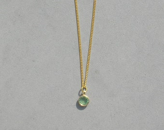August Birthstone- Peridot Gold Plated Drop Necklace