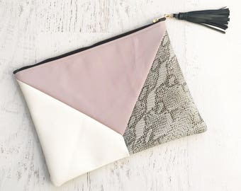 Geometric Blush, White & Snakeskin Faux Leather Clutch - Gift for her, Birthday, Anniversary, Bridesmaid