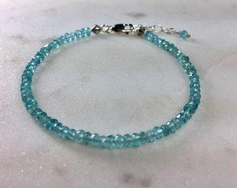Apatite Rondelle Bracelet in Sterling Silver