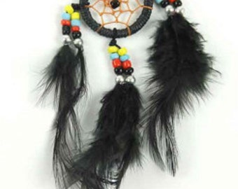 Black Feathered Dream Catcher Necklace
