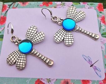 Dragonfly Earrings, Vitrail Dragonfly Earrings, Czech Glass Earrings, Rainbow Dragonfly Earrings, Blue Green Earrings, Dragonfly Jewelry
