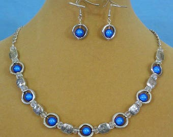 """Stunning 18"""" Silver and Cobalt Blue Necklace & Earrings Set - S101"""