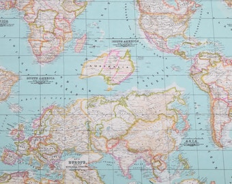 Map fabric world map fabric fabric map of the world world fabric world map 2 designer curtain upholstery cotton fabric material 55140cm wide retro world map canvas light blue gumiabroncs Image collections