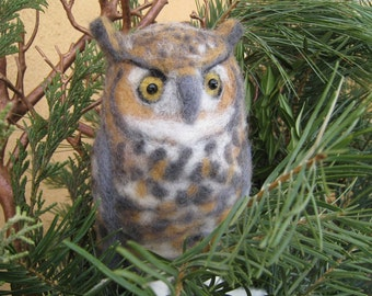 Mr. Great Horned Owl, needle felted bird sculpture