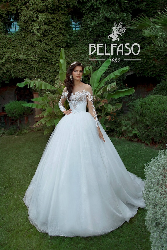 Lace Wedding Dresses Ball Gown Long Sleeves Off Shoulder