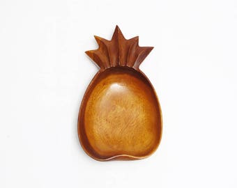 vintage wood pineapple bowl boho jungalow tropical modern home decor