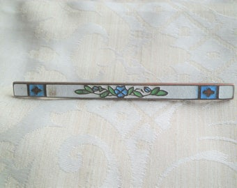 Long Antique Guilloche White Enamel Bar Pin with Blue Flower