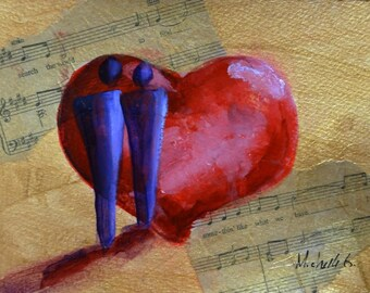 Gift For Wife, Abstract Figure, Heart Art, Search The World For You, Love Song Art. Original Painting, Red, Gold, Small Artwork,  Under 25