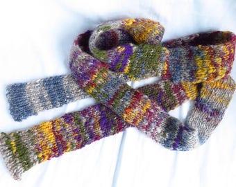 World Currency - Handspun, handknit scarf - drum carded, wool, silk, alpaca blend, rainbow, gem tones, skinny scarf, winter sparkle scarf